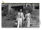 Couple Walking Out Of House, C.1930s Carry-all Pouch