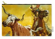 Cowboy Lassoing Cattle  Carry-all Pouch by Angus McBride