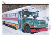Crazy Painted Old School Bus In The Snow Carry-all Pouch