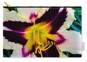 Cream And Purple Lily Macro Carry-all Pouch