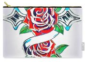 Cross And Roses Tattoo Carry-all Pouch