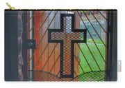 Cross On Church Door Open To Prison Yard With Light Carry-all Pouch