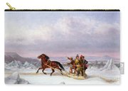 Crossing The Saint Lawrence From Levis To Quebec On A Sleigh Carry-all Pouch by Cornelius Krieghoff