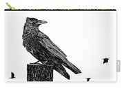 Crow On Fence Post Carry-all Pouch