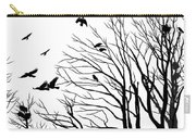 Crows Roost 2 - Black And White Carry-all Pouch