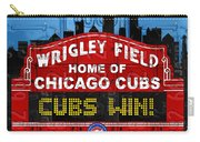Cubs Win Wrigley Field Chicago Illinois Recycled Vintage License Plate Baseball Team Art Carry-all Pouch