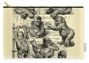 Baby Monkeys Playing Black And White Antique Illustration Carry-all Pouch