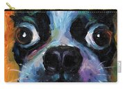 Cute Boston Terrier Puppy Art Carry-all Pouch by Svetlana Novikova