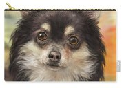 Cute Furry Brown And White Chihuahua On Orange Background Carry-all Pouch