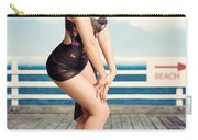 Cute Pinup Girl Looking Surprised On Beach Pier Carry-all Pouch