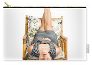 Cute Young Woman Sitting Upside Down On Chair Carry-all Pouch