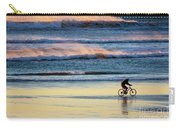 Cyclist Pedals Against The Wind At Pismo Beach Carry-all Pouch