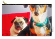 Dachshund Dog, Pug Dog, Good Time On Bed Carry-all Pouch