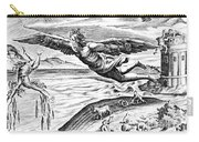 Daedalus Escaping From Crete With His Son, Icarus, Sees Him Falling To His Death Carry-all Pouch