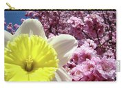 Daffodil Flower Art Prints Pink Tree Blossoms Blue Sky Baslee Carry-all Pouch