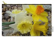 Daffodils Flower Artwork 29 Daffodil Flowers Agate Rock Garden Floral Art Prints Carry-all Pouch