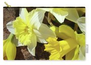Daffodils Flower Bouquet Rustic Rock Art Daffodil Flowers Artwork Spring Floral Art Carry-all Pouch