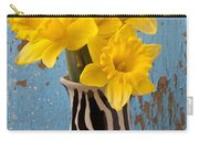 Daffodils In Wide Striped Vase Carry-all Pouch