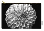 Dahlia  Flower Black And White Square Carry-all Pouch