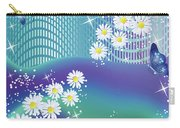 Daisies And Butterflies On Blue Background Carry-all Pouch