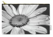 Daisy With Raindrops In Black And White Carry-all Pouch