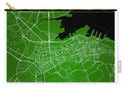 Dalian Street Map - Dalian China Road Map Art On Green Backgro Carry-all Pouch