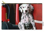 Dalmatian Puppy With Fireman's Helmet  Carry-all Pouch by Garry Gay