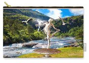 Dancing Statue Near The Waterfall Carry-all Pouch