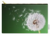 Dandelion Flying On Background Green Carry-all Pouch