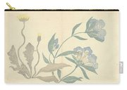 Dandelions And Blue Flowers, Nakamura Hochu, 1826 Carry-all Pouch