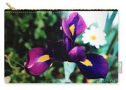 Dark Purple Minature Iris With Daisy Carry-all Pouch