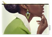 Dark Skinned Woman In Updo With Big Curls Carry-all Pouch