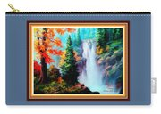 Deep Jungle Waterfall Scene L A With Alt. Decorative Ornate Printed Frame. Carry-all Pouch