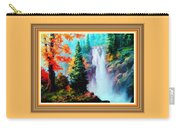 Deep Jungle Waterfall Scene L B With Alt. Decorative Ornate Printed Frame. Carry-all Pouch
