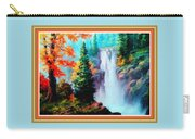 Deep Jungle Waterfall Scene L B With Decorative  Ornate Printed Frame. Carry-all Pouch