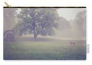 Deer By Barn On A Foggy Morning Carry-all Pouch