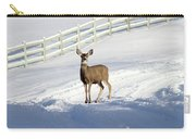 Deer In Snow Covered Road Carry-all Pouch