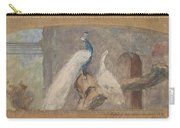 Design For A Dessus De Porte Branch With Peacock And Other Birds, August Allebe, 1874 Carry-all Pouch