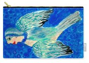 Detail Of Bird People Flying Bluetit Or Chickadee Carry-all Pouch