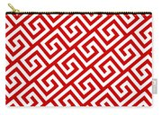Diagonal Greek Key With Border In Red Carry-all Pouch