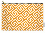 Diagonal Greek Key With Border In Tangerine Carry-all Pouch