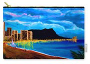 Diamond Head And Waikiki Beach By Night #92 Carry-all Pouch