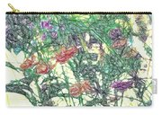 Digital Pencil Sketch Flowers Carry-all Pouch