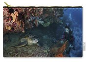 Diver And Sea Turtle, Manado, North Carry-all Pouch