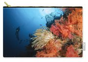 Diver Swims By A Soft Coral Reef Carry-all Pouch