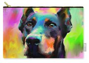 Doberman Pincher Dog Portrait Carry-all Pouch by Svetlana Novikova
