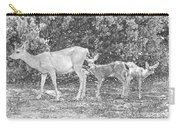 Doe With Twins Pencil Rendering Carry-all Pouch