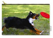 Dog And Red Frisbee Carry-all Pouch