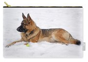 Dog In Snow Carry-all Pouch by Sandy Keeton