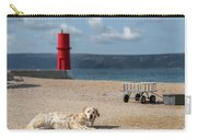 Dog Lying On The Beach In Front Of Red Lighthouse Of Cres Carry-all Pouch